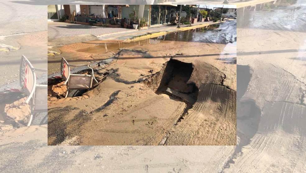 «Βούλιαξε» ο δρόμος στην Αμμουδάρα - Πως γίνεται η κυκλοφορία;
