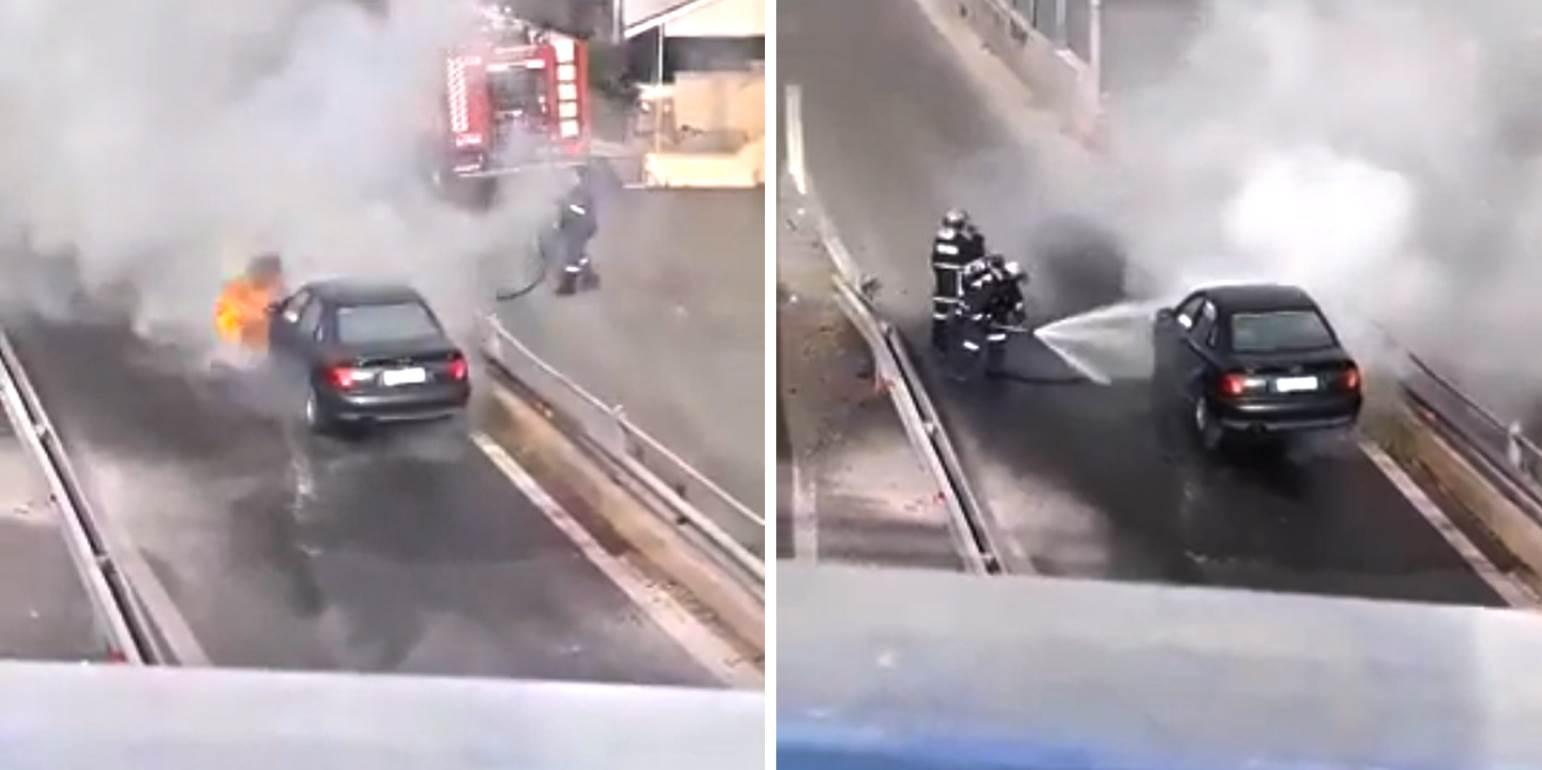 Πανικός από το φλεγόμενο όχημα στον παράλληλο της Εθνικής