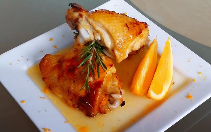Κοτόπουλο με σάλτσα πορτοκάλι και κονιάκ