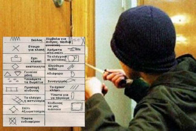 Τα σύμβολα που βάζουν οι διαρρήκτες για να κλέβουν σπίτια και στην Κρήτη!