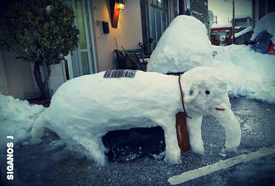 Ξαναχτύπησαν οι καλλιτέχνες του χιονιού.... Ελέφαντας στο Οροπέδιο!