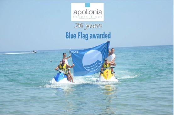 Αποτέλεσμα εικόνας για 26 χρόνια «Γαλάζια Σημαία» για το Apollonia Beach Resort&Spa.