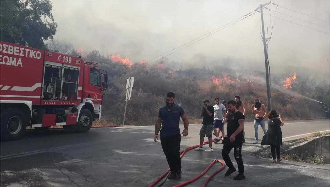 Πυρκαγιά κοντά σε σπίτια στα προάστια του Ρεθύμνου - Εκκενώθηκε σχολείο